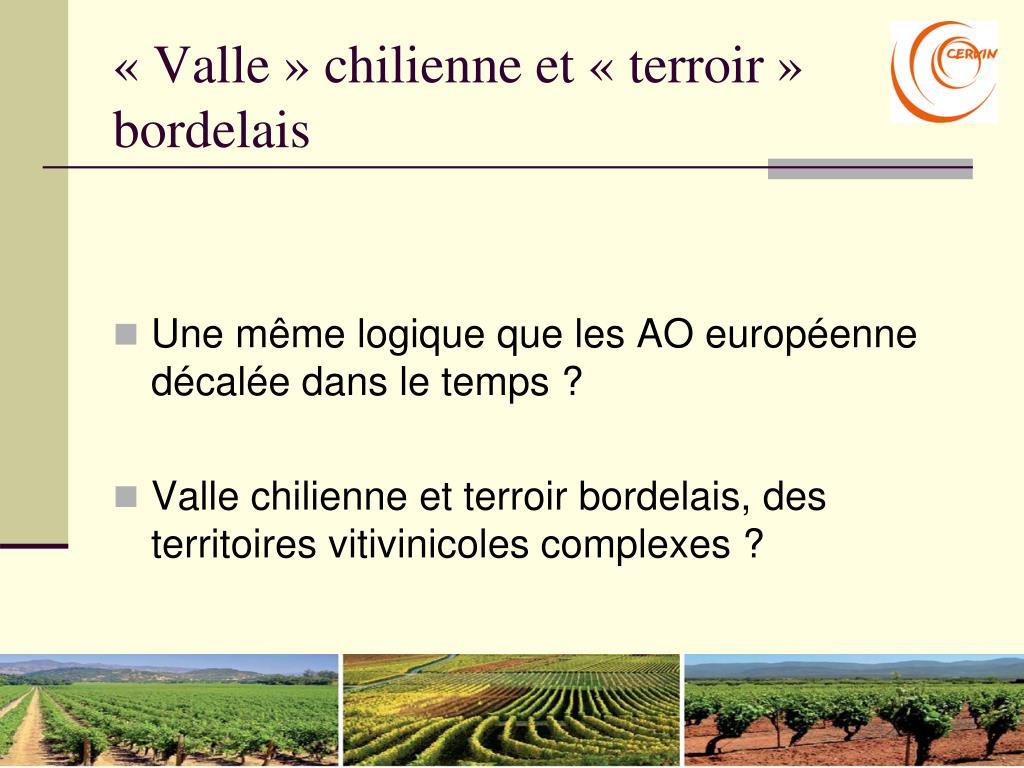 «Valle» chilienne et «terroir» bordelais