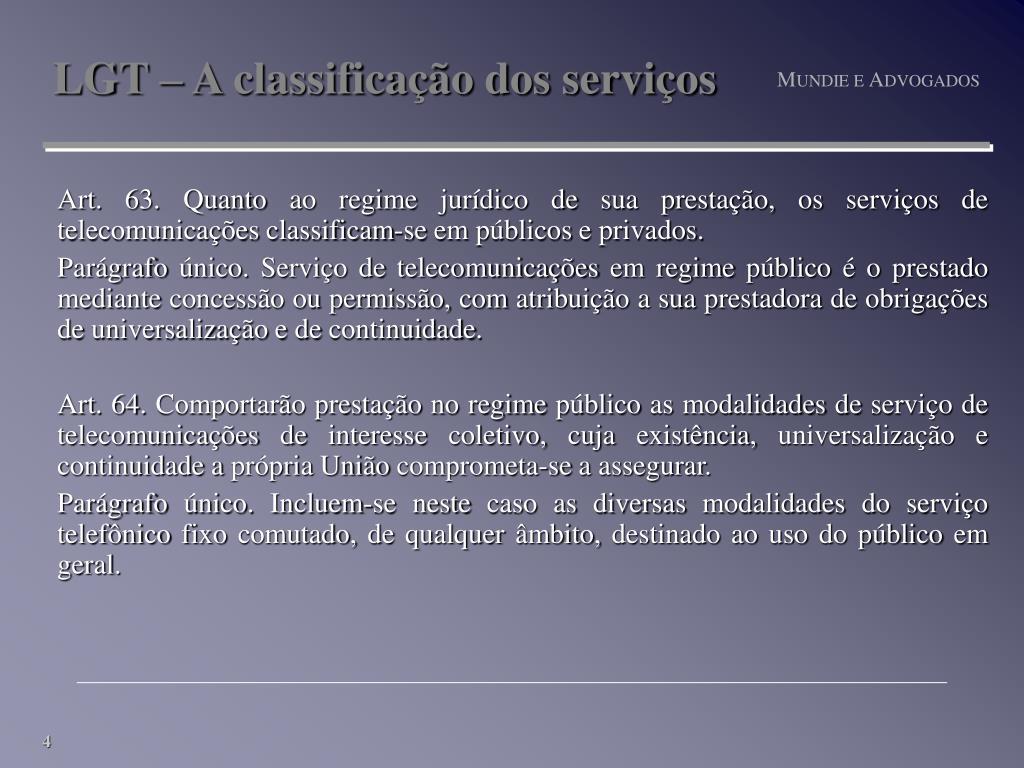 LGT – A classificação dos serviços