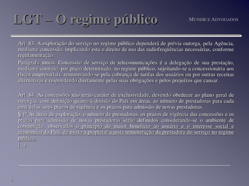 LGT – O regime público