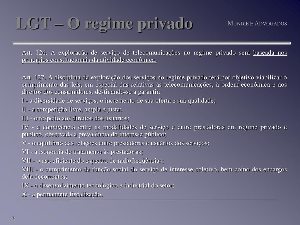 LGT – O regime privado