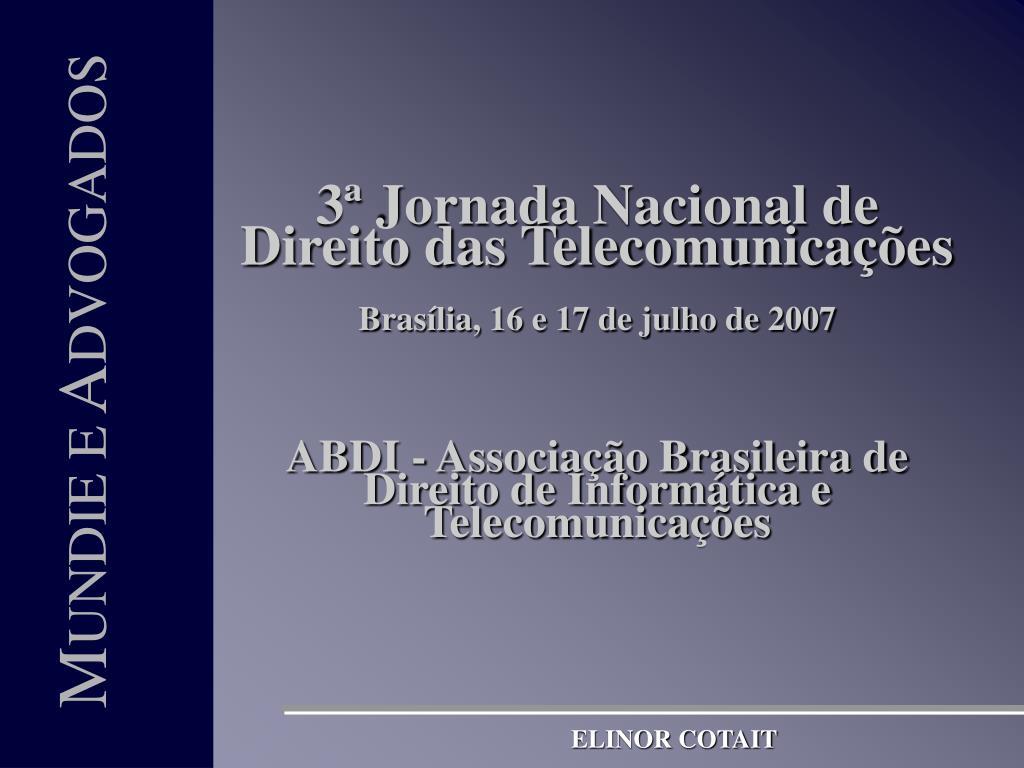 3ª Jornada Nacional de Direito das Telecomunicações