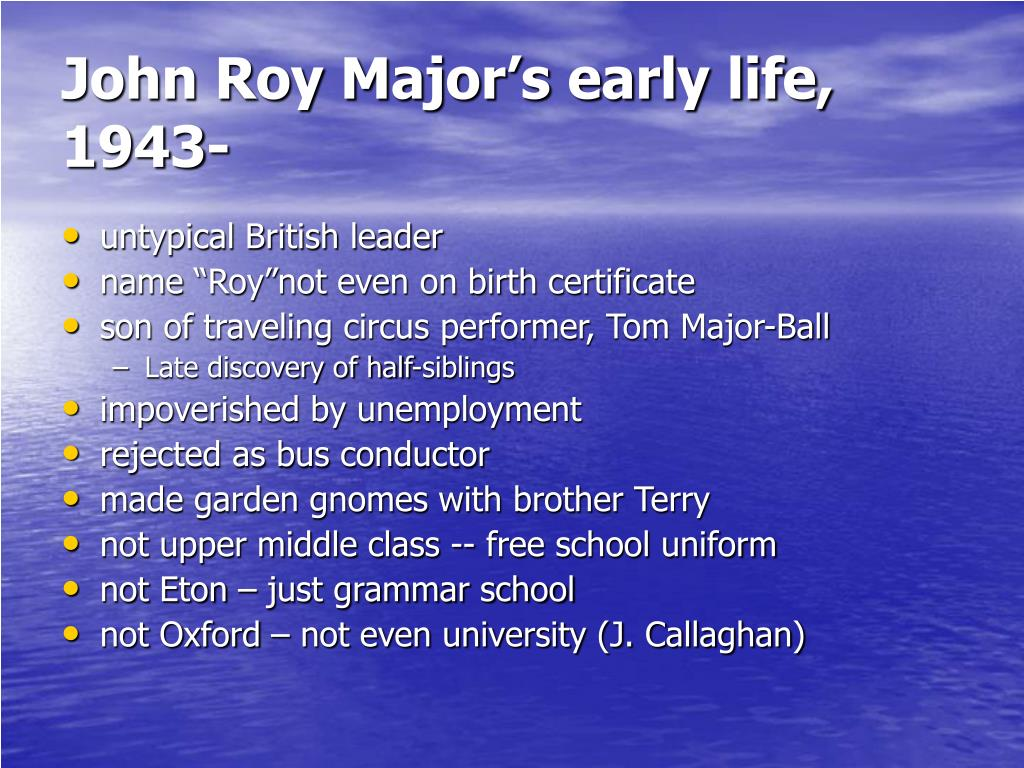 John Roy Major's early life, 1943-