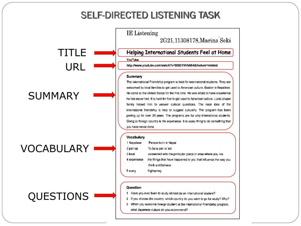 SELF-DIRECTED LISTENING TASK
