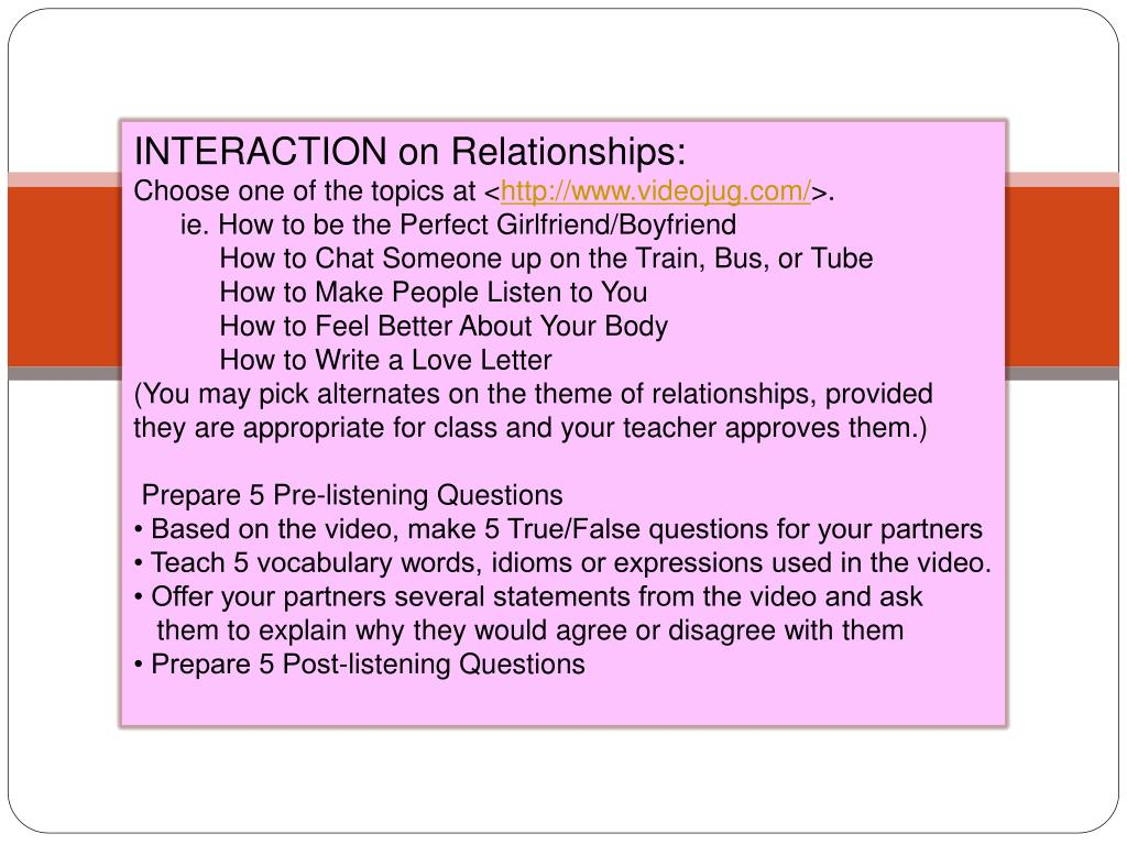 INTERACTION on Relationships: