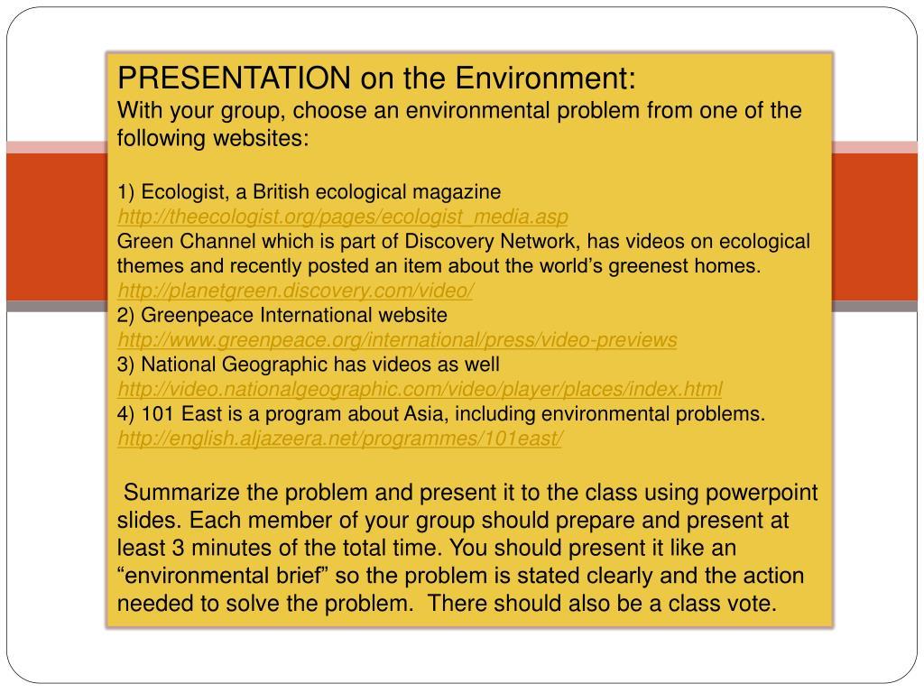 PRESENTATION on the Environment: