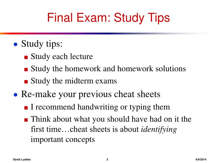 Final Exam: Study Tips