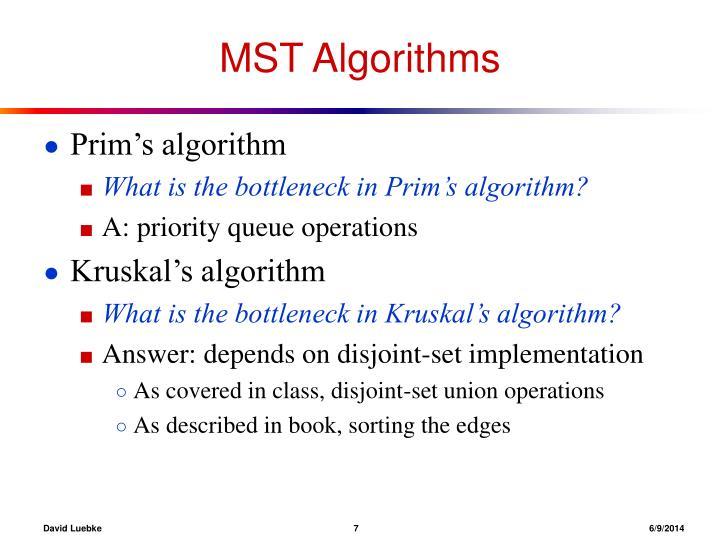 MST Algorithms