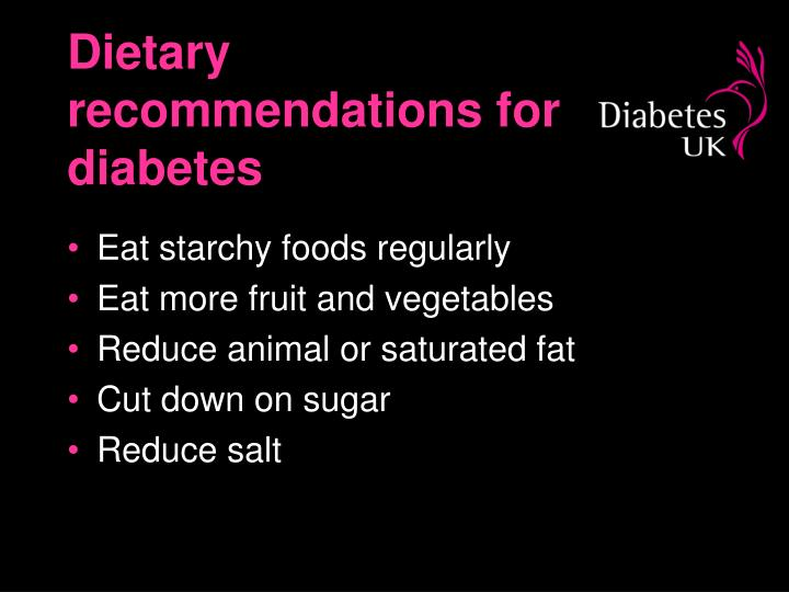 Dietary recommendations for diabetes