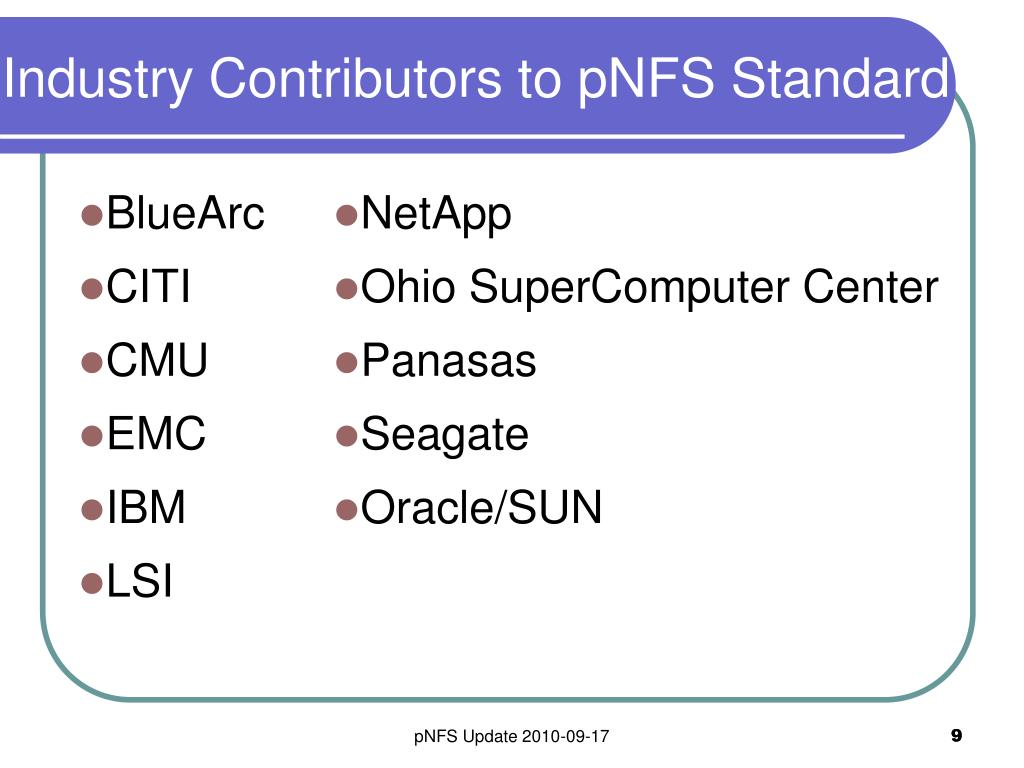 Industry Contributors to pNFS Standard