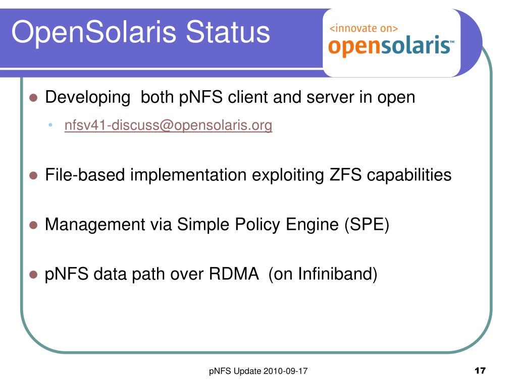 OpenSolaris Status
