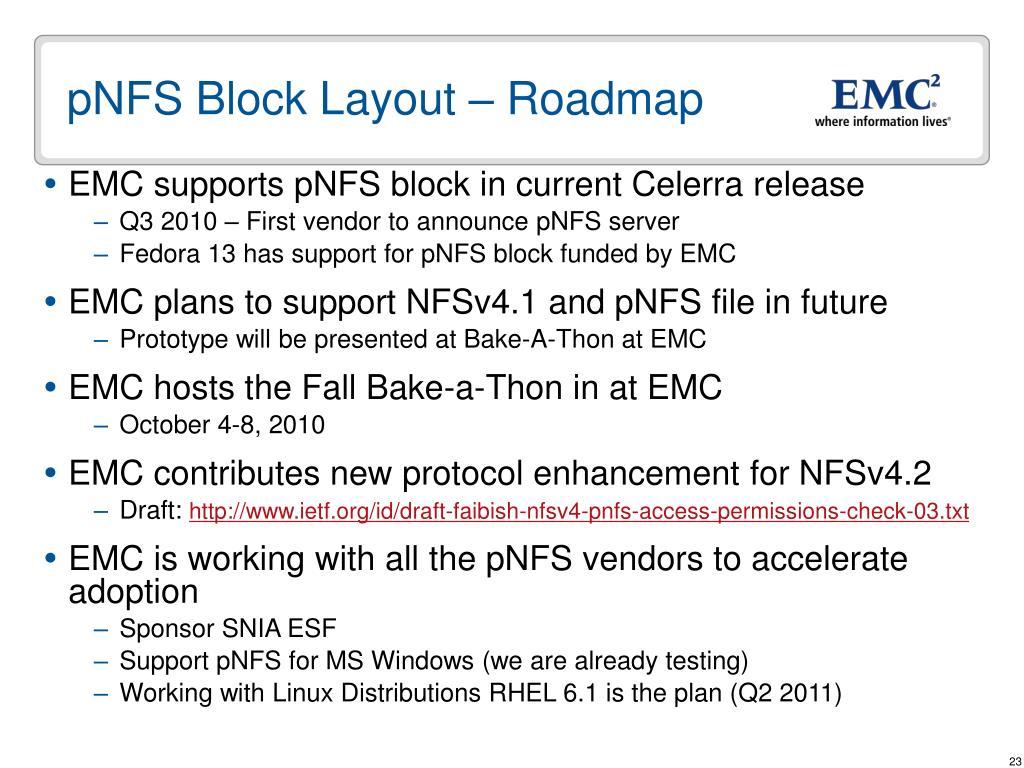 pNFS Block Layout – Roadmap