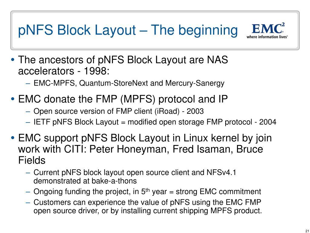 pNFS Block Layout – The beginning