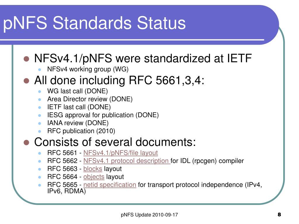 pNFS Standards Status
