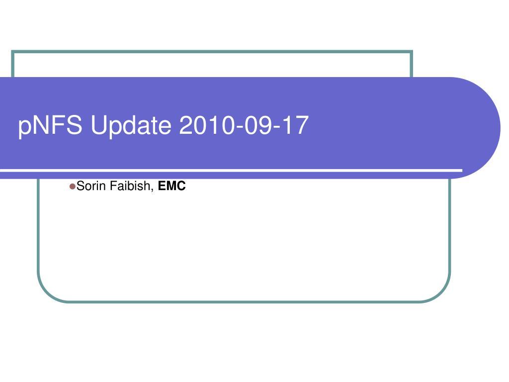 pNFS Update 2010-09-17