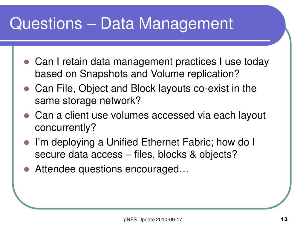 Questions – Data Management