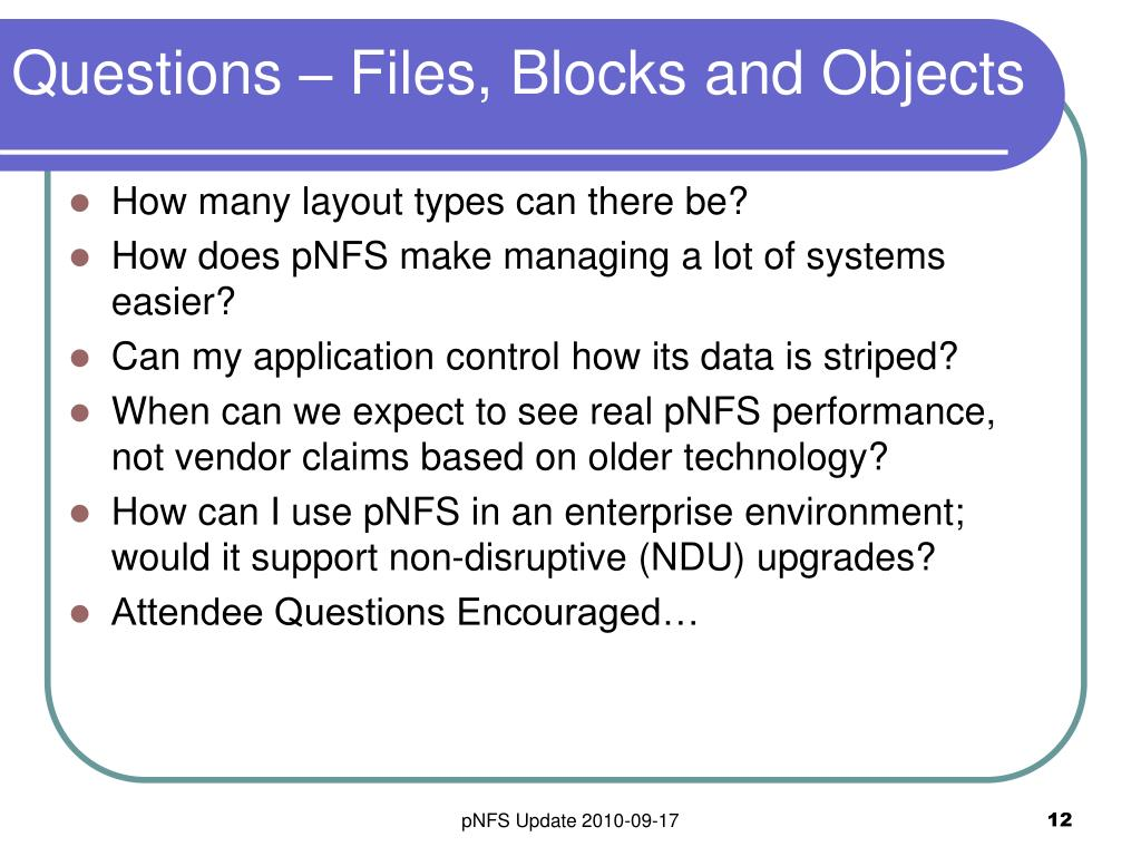 Questions – Files, Blocks and Objects