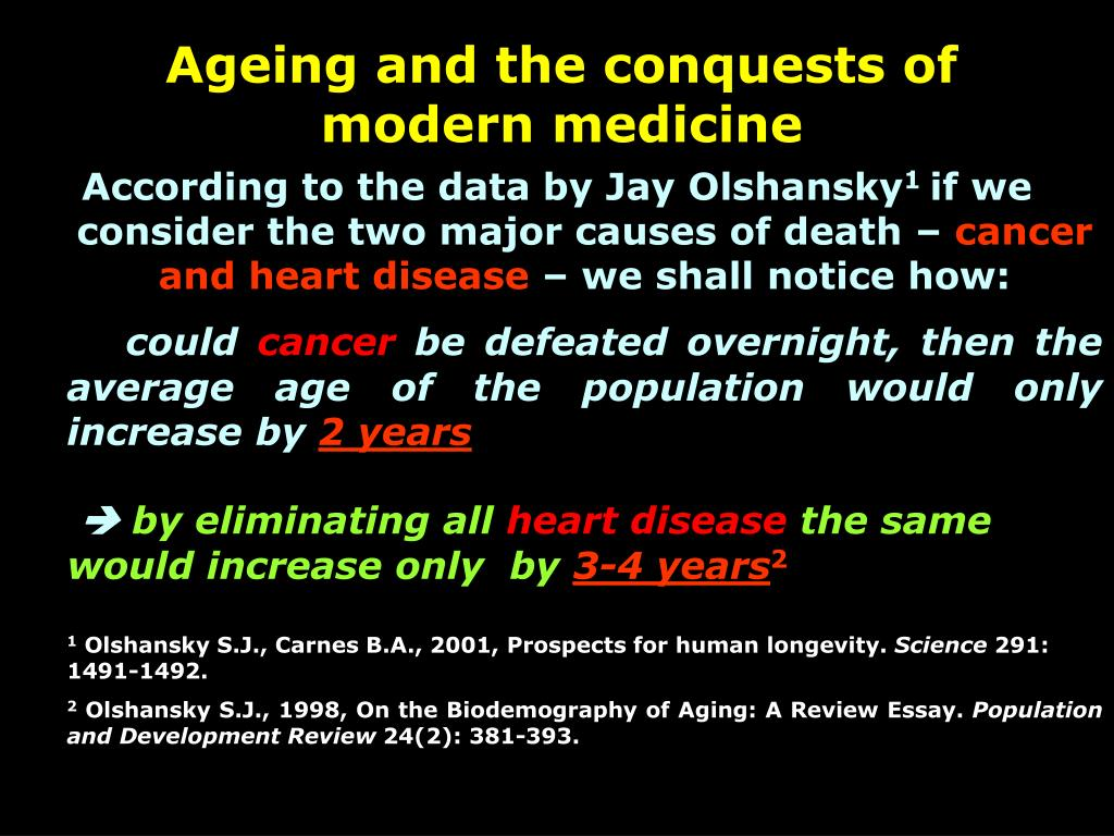 Ageing and the conquests of modern medicine