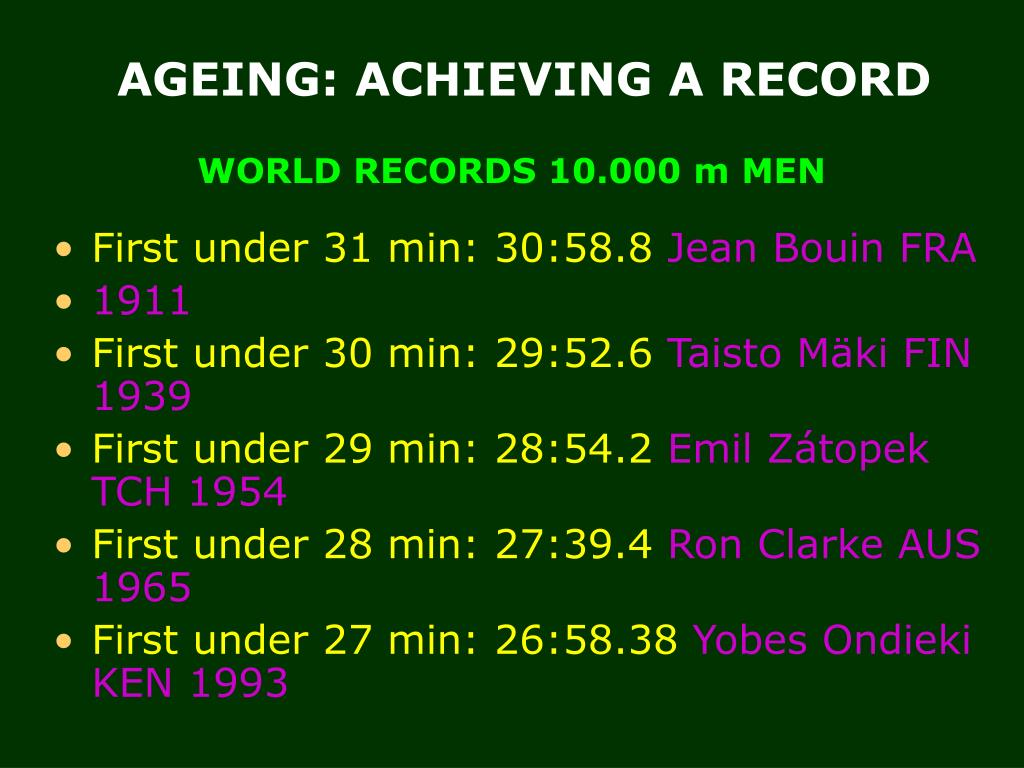 WORLD RECORDS 10.000 m MEN