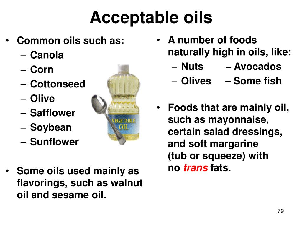 Common oils such as: