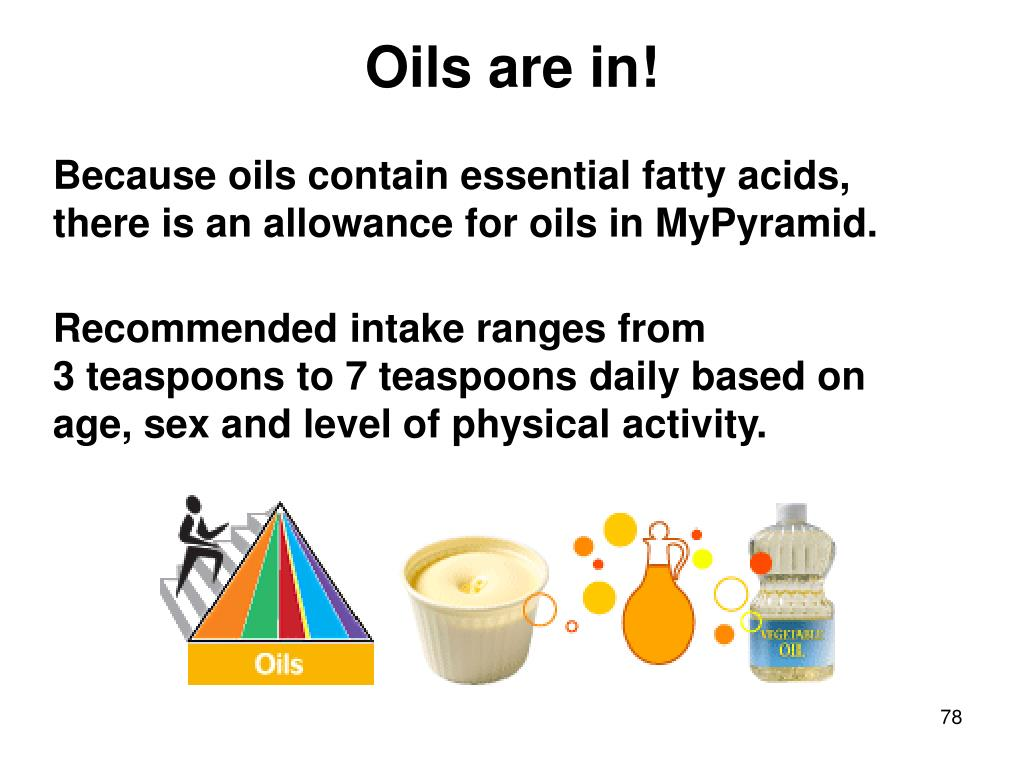 Because oils contain essential fatty acids, there is an allowance for oils in MyPyramid.