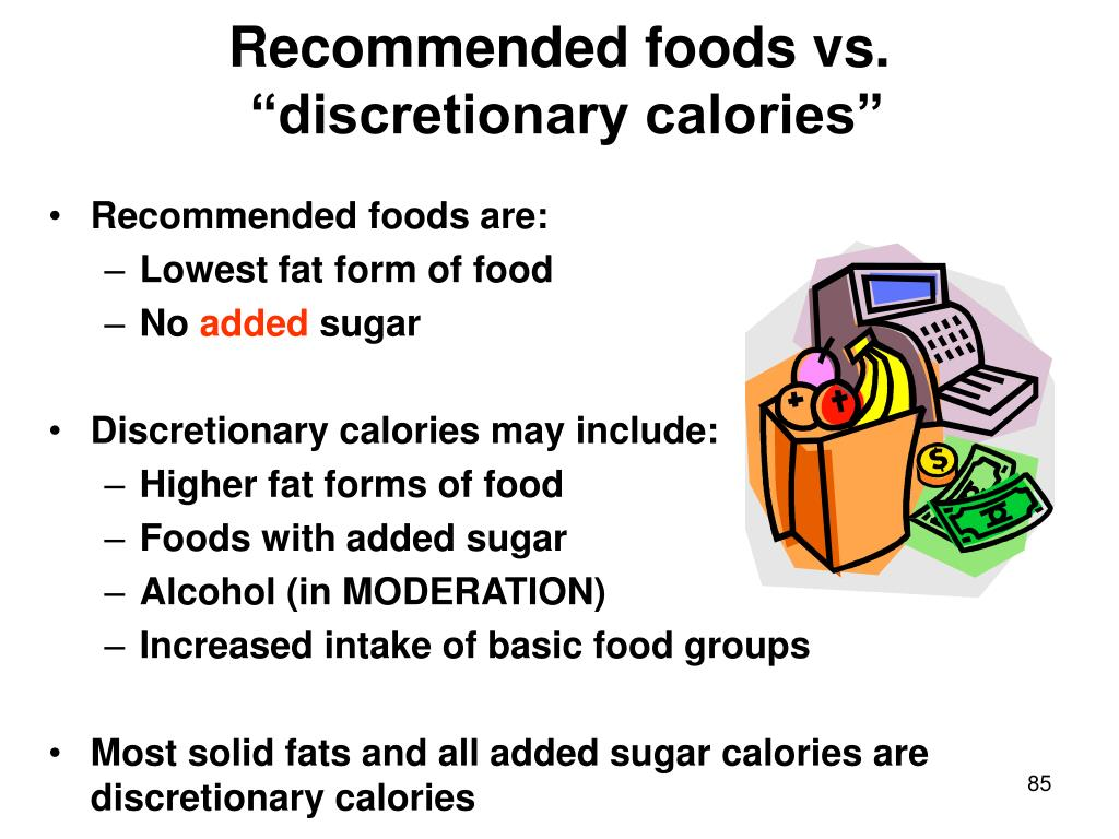 Recommended foods vs.