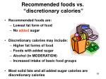 recommended foods vs discretionary calories