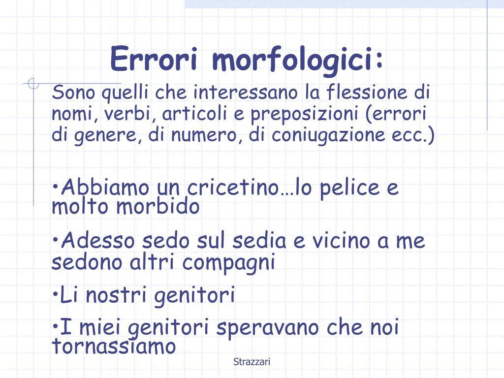 Errori morfologici:
