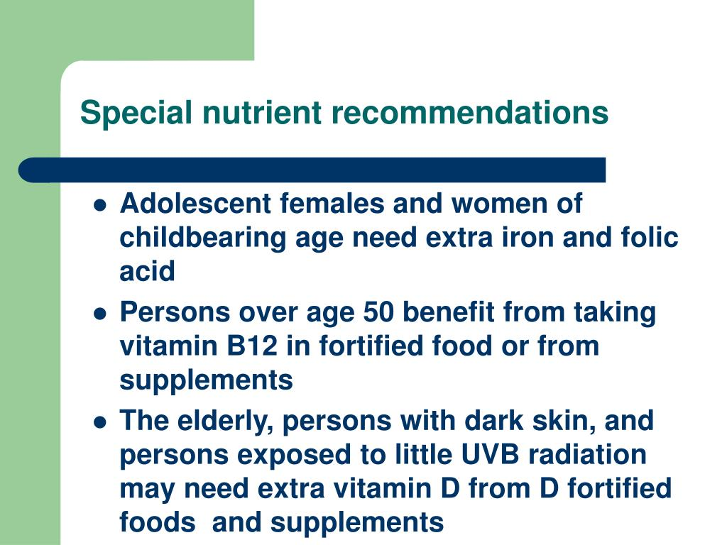 Special nutrient recommendations