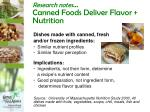 research notes canned foods deliver flavor nutrition