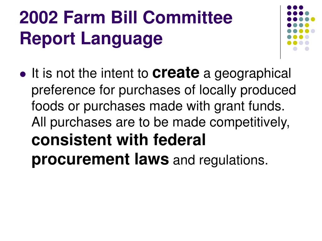 2002 Farm Bill Committee Report Language