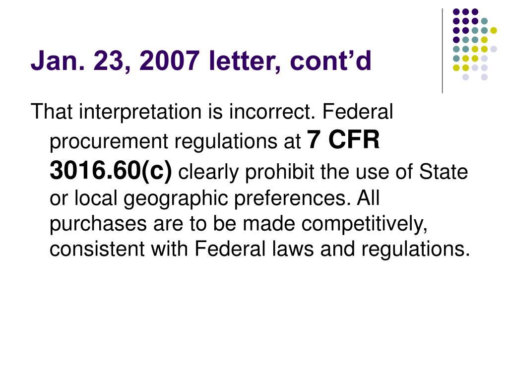 Jan. 23, 2007 letter, cont'd