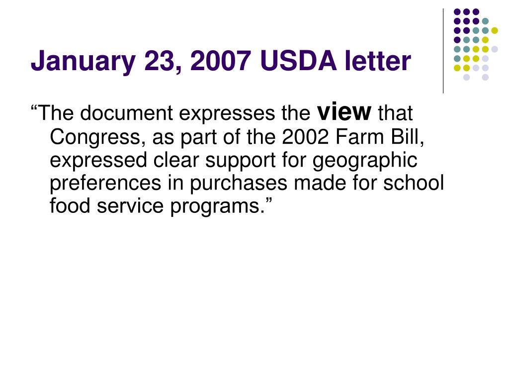 January 23, 2007 USDA letter