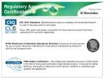 regulatory agencies certifications