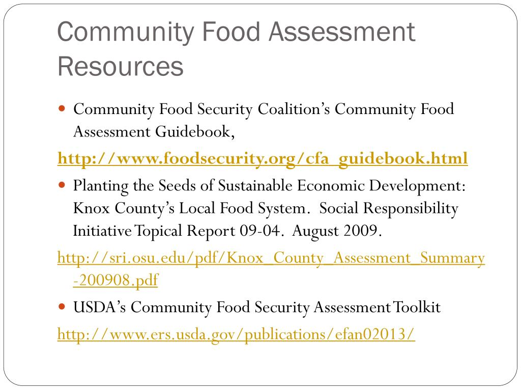 Community Food Assessment Resources