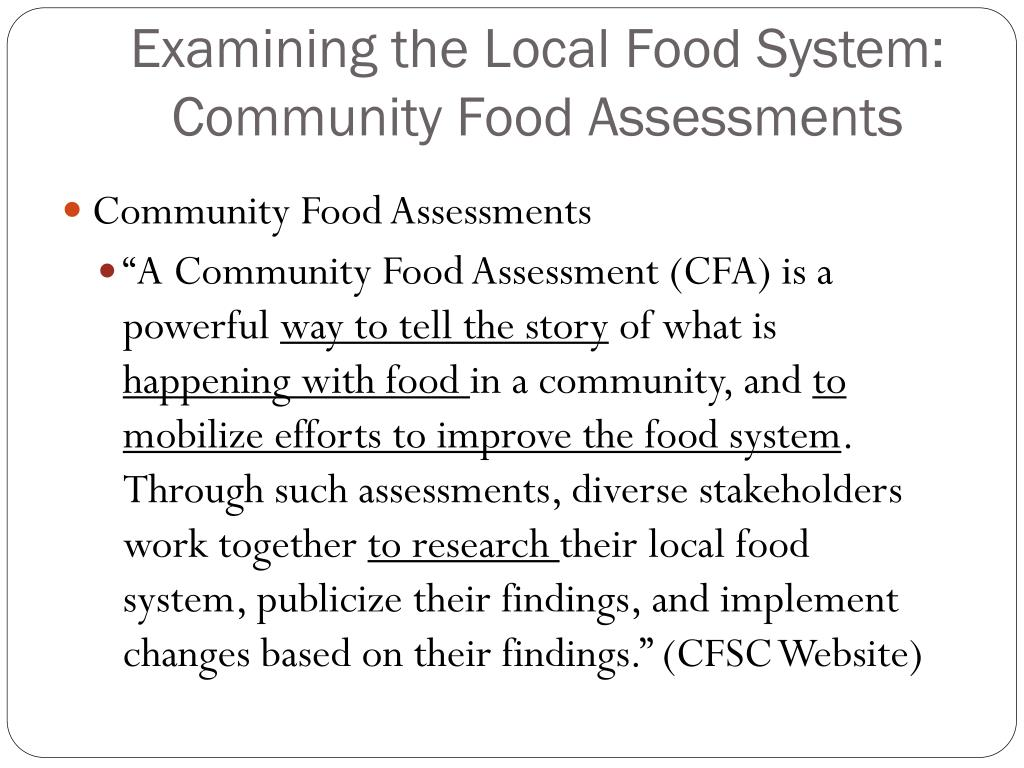 Examining the Local Food System:  Community Food Assessments