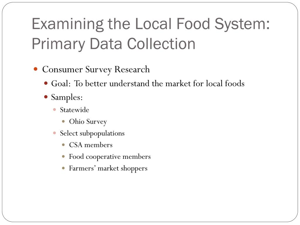Examining the Local Food System: Primary Data Collection