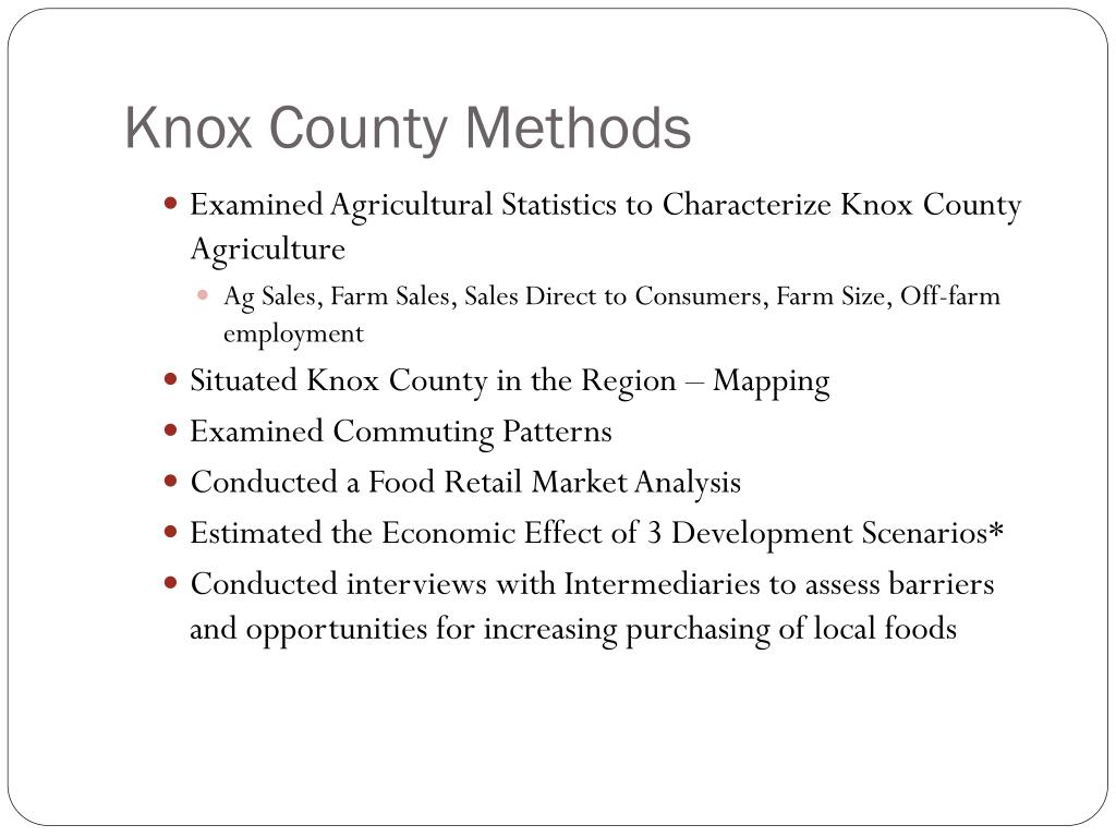 Knox County Methods