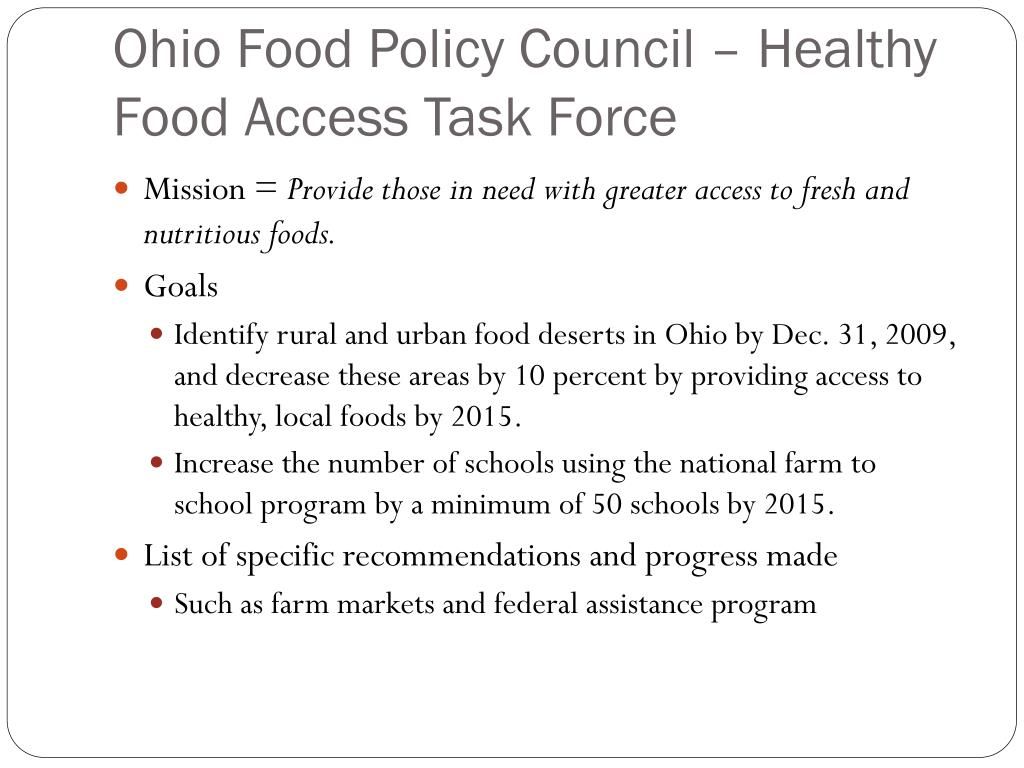 Ohio Food Policy Council – Healthy Food Access Task Force
