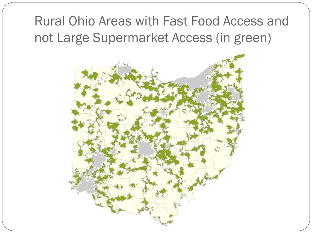 Rural Ohio Areas with Fast Food Access and not Large Supermarket Access (in green)