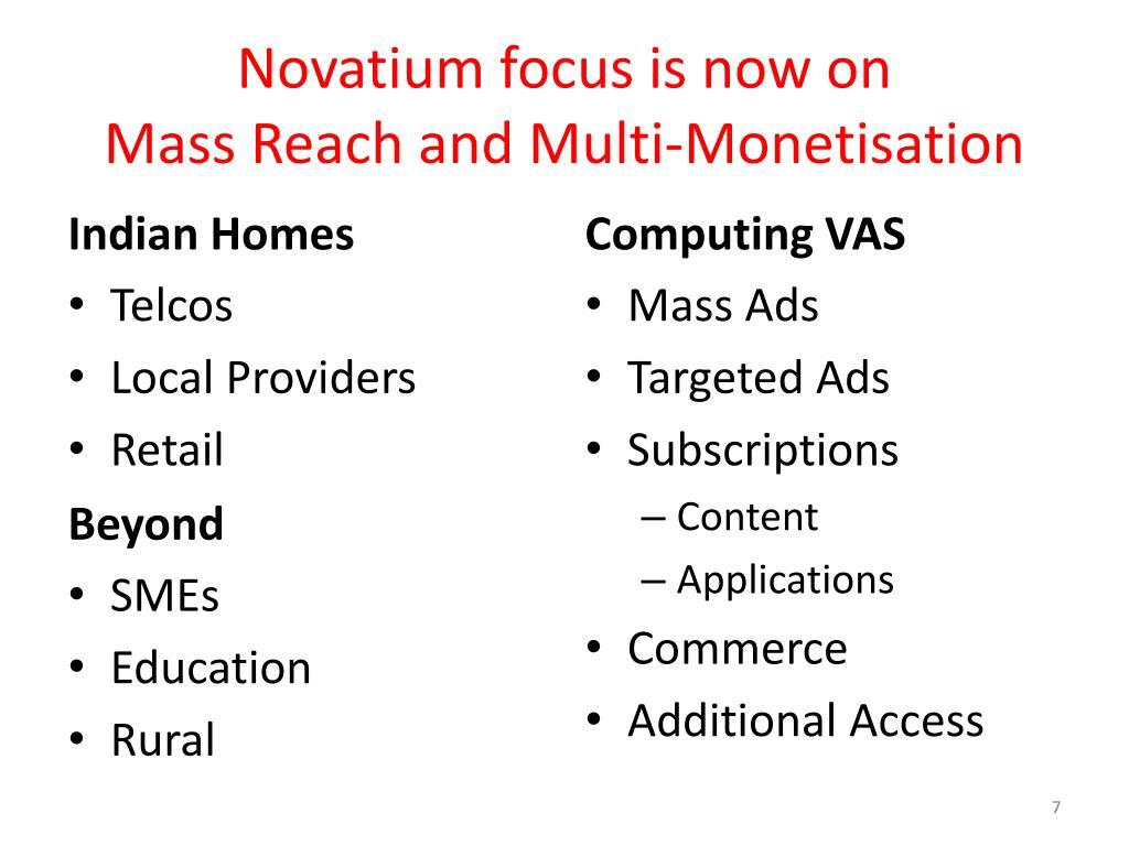Novatium focus is now on