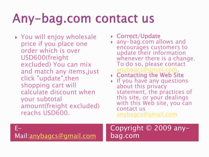 Any-bag.com contact us