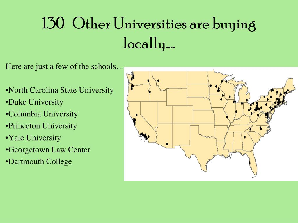 130   Other Universities are buying locally….
