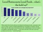 local restaurants local foods what s the hold up