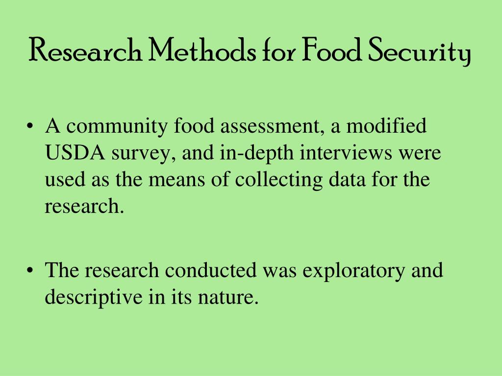 Research Methods for Food Security