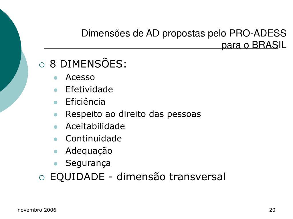 Dimensões de AD propostas pelo PRO-ADESS