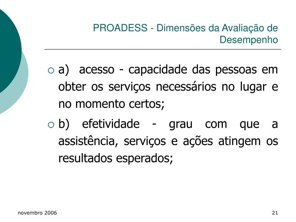 PROADESS - Dimensões da Avaliação de Desempenho