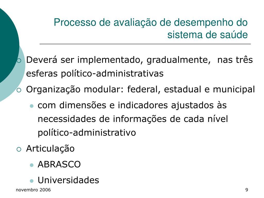 Processo de avaliação de desempenho do sistema de saúde