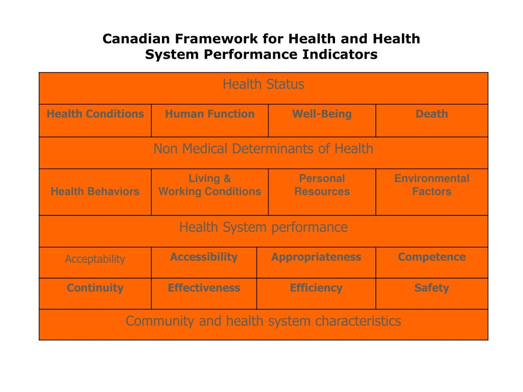 Canadian Framework for Health and Health System Performance Indicators
