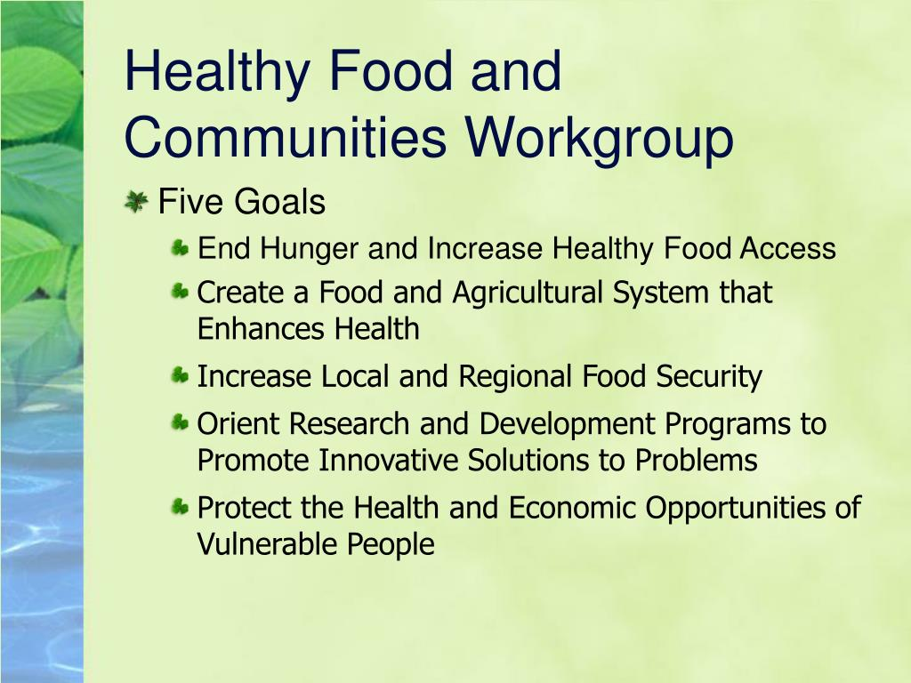 Healthy Food and Communities Workgroup