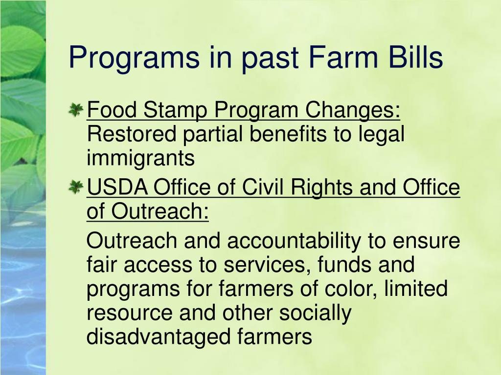Programs in past Farm Bills